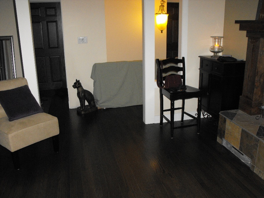Ebony Oak hardwood floor refinishing