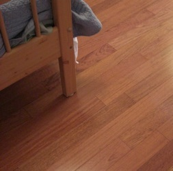 Pre-finished hardwood floor refinishing